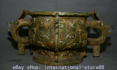"""14.8"""" Old Chinese Bronze Ware Western Zhou Dynasty Beast Face Handle Censer"""