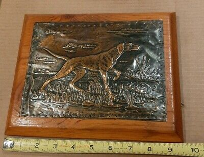 Collectible Copper Embossed picture on wood wall art, Hunting Dog Free U.S. ship