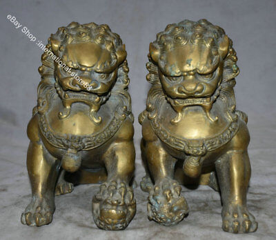"""8.8"""" Old Chinese Bronze Fengshui Foo Fu Dog Guardion Lion Pair Luck Sculpture"""