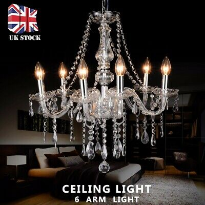 Crystal Chandelier Ceiling Light Clear Droplets Pendant Lamp 6 Arm Light Vintage