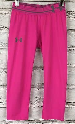 UNDER ARMOUR Youth Girls Medium HEAT GEAR Pink Cropped Leggings Active UA Pants