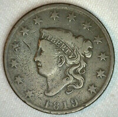1819 Coronet Head US Large Cent Copper Coin Fine Grade 1c US Penny Coin