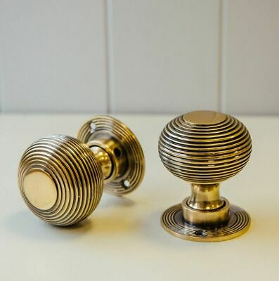 Antique Beehive Style Solid Brass Mortice Door Knob Set Aged Brass Finish 50mm