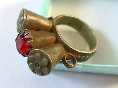 A Genuine,Beautiful, Post Medieval Silver Ring W/Red Glass/Stone