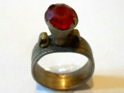 A Genuine,Beautiful,Post Medieval Silvered Ring With Glass/Stone