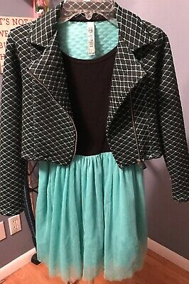 Beautees Girls Black/Teal Dress With Jacket Size 8