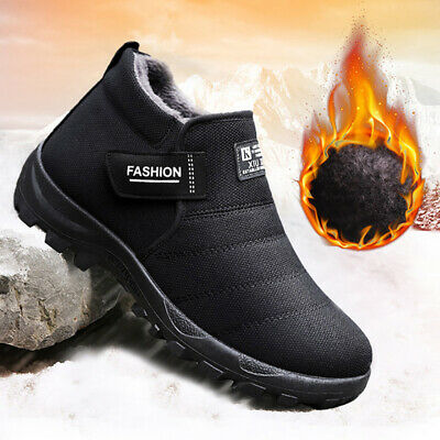 Plush Mens Shoes Winter Snow Boots Warm Fur Father Casual Slip-on Ankle Boots