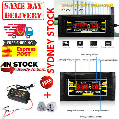 12V 10A LCD Display Smart Fast Lead-acid/GEL Battery Charger Car Motorcycle M7R7