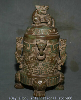 """9.6"""" Old Chinese Han Dynasty Old Jade Carving Palace Dragon Beast Wine Vessel"""