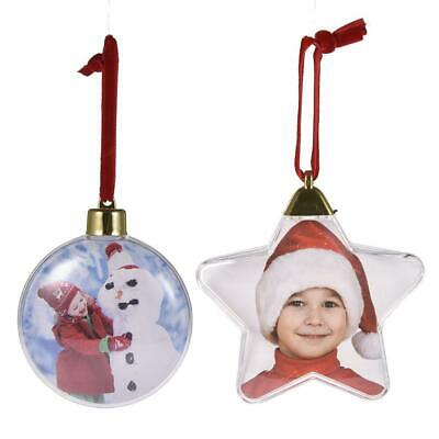 Clear Hanging Photo Frame Round Star Picture Ball Christmas Party Ornament Gift