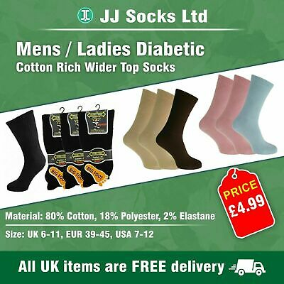 3 Mens/ladies Diabetic EXTRA-WIDE Cotton Rich Wider Top Socks  pick your colour