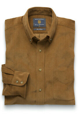 Brook Taverner Men's Gold Button Down Collar 100% Cotton Cord Shirt Casual