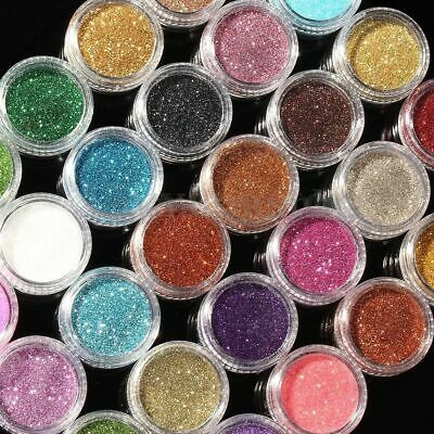 24 Fine Dust Glitter Nail Art Pot Face Body Eye Shadow Craft Iridescent Cosmetic