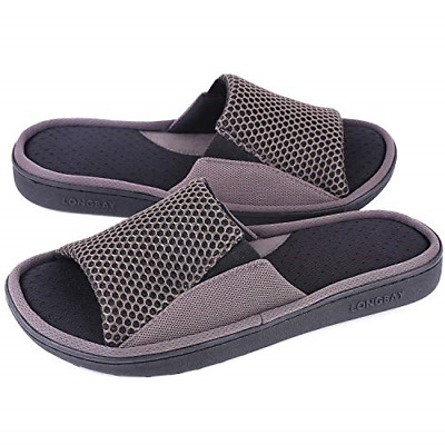 BEST Mens Comfy Memory Foam Slide Slippers Breathable Mesh Cloth House Shoes