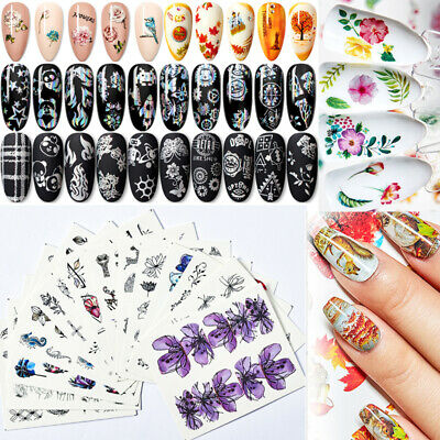 Marble Flowers Butterfly Nail Art Transfer Stickers Decals Foils Tips DIY Decors