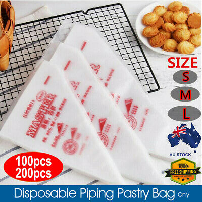 100/200X Plastic Disposable Piping Bags For Cake Decor Icing Frosting Piping AU
