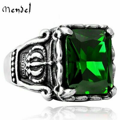 MENDEL Stainless Steel Mens Crown Faux Green Emerald Stone Ring Men Size 7-13