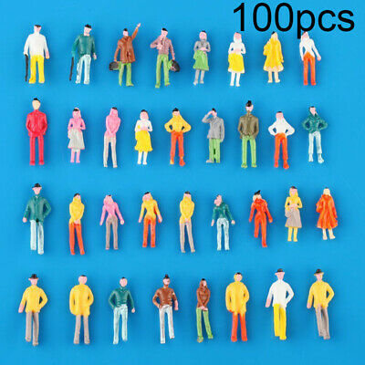 100pcs Scale 1:75 Model Railway Painted Train Street Figures People For Layout