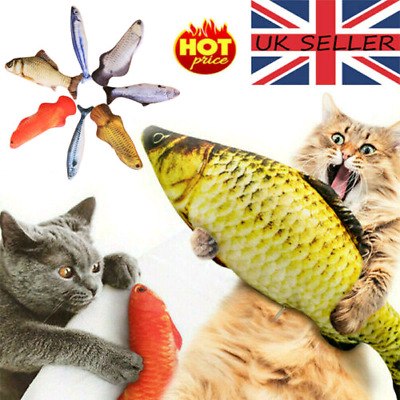 Cat Wagging Fish Realistic Plush Toy Simulation Gift for Pet Chewing UK