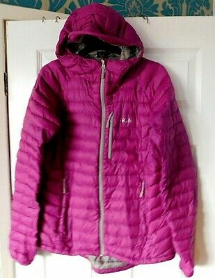 RAB Womens Eggplant Microlight Alpine Insulated Hooded Down Jacket UK 12 BNWT