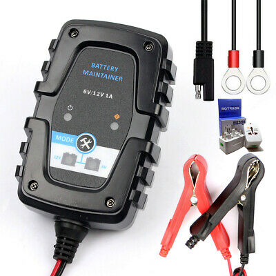 Motorcycle Battery Charger Trickle 6V 12V 1A Baby Boy with Auto Cut Off Adapter