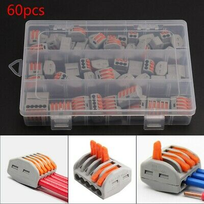 60 Pcs/set Terminal Blocks Push Wire Connectors Clips Fast Cable Reusable Lever