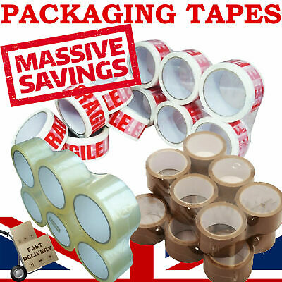 72 X Long Length Packing Tape Strong - Brown / Clear / Fragile Parcel Packaging