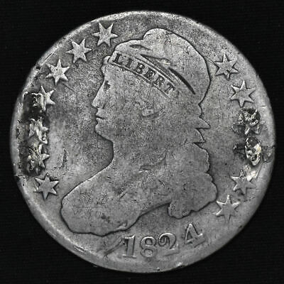 1824/4 United States, Capped Bust, Lettered Edge, Half Dollar, O-110