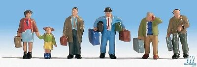 5 Travelers with Luggage Figure Set Walthers SceneMaster #949-6060 vmf121 HO