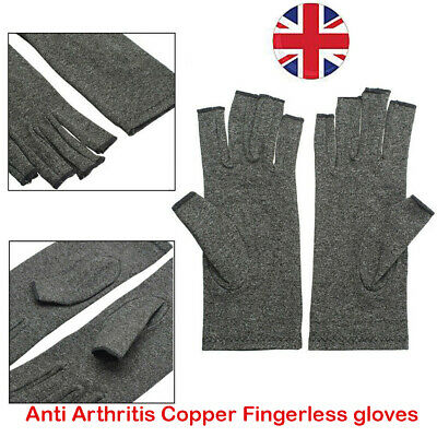 Anti Arthritis Copper Fingerless gloves compression therapy circulation UK NEW