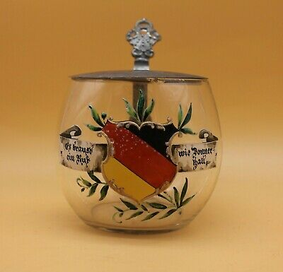 Patriotic coat of arms glass Beer Stein German antique students' fraternity old