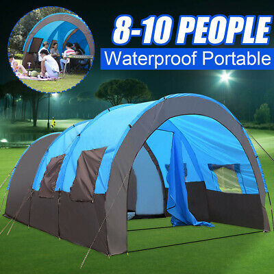 8 - 10 People Large Outdoor Tent Waterproof Tunnel Camping Hiking Double Layer