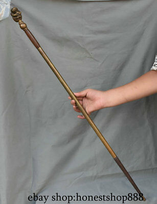 """35.2"""" Collect Rare Old Chinese Copper Monkey Animal Dynasty Walking Stick Crutch"""