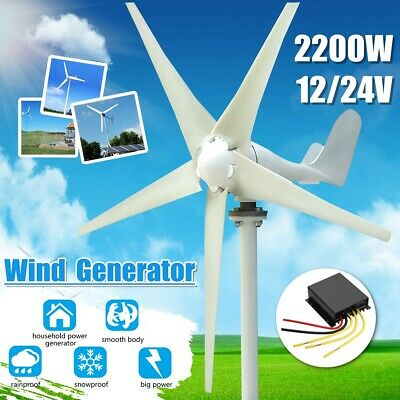 2200W 12V/24V 5 Blades Horizontal Wind Turbine Generator Kit + Charge Controller