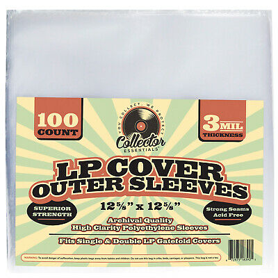 100 Clear LP Record Outer Sleeves for Vinyl Album Covers 3 MIL Plastic Poly Bag