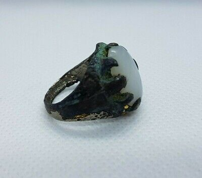Rare Ancient Ring Bronze Roman White Stone Artifact Old Vintage Museum Quality