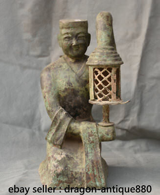 "16"" Ancient Chinese Old Bronze Dynasty human-shaped Palace lamp Sculpture"
