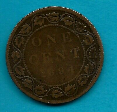 1894 Victorian Canadian Large Cent -Good Condition!