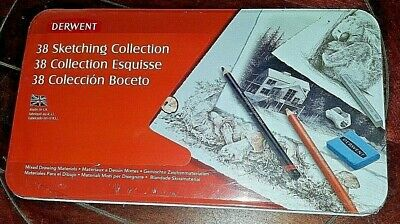Derwent 38pc Sketching Collection in Tin - #2300487 ~Mixed Drawing Materials~
