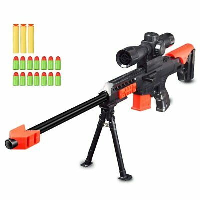 NEW 2019 Nerf Military Sniper Toy Rifle Gun Kids Gift Weapon 15 Pcs Soft Bullet