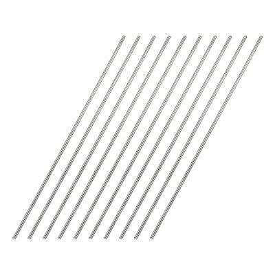 2mm x 200mm 304 Stainless Steel Solid Round Rod for DIY Craft - 10pcs