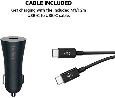 Belkin USB C 15 W Car Charger with USB