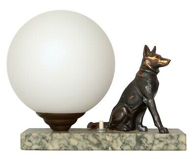 Antique Sculptures Lamp Marked Shepherd Dog 1930 Marble Bedside Table Lamp