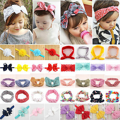 Newborn Baby Girls Elastic Headdress Hair Band Knot Bow Headband Head Wrap UK