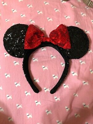 DISNEY PARKS Minnie Mouse Ears Headband Black Red Sequin Bow Mickey