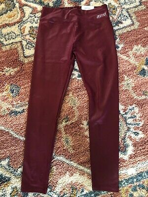 NWT Girls Justice Active Size 14/16 High Waist Leggings Solid Burgundy/maroon
