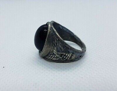 Rare Ancient Viking Old Ring Metal Eagle Symbol Stunning Authentic Artifact