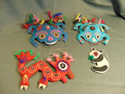 4 Asian Christmas tree ornaments frogs dragon panda bear all fabric colorful art