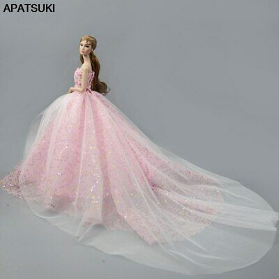 Pink Multi-layer Wedding Dress Outfits Evening Party Gown Dress For Barbie Dolls