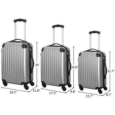 Set of 3 Travel Luggage  ABS Trolley Spinner Suitcase with TSA Lock Gray